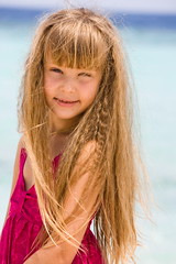 Our little cutie (maria.feklistova) Tags: pink summer vacation portrait sun holiday cute girl smile kid model waves child little young cutie curly blond blonde anastasia maldives nastya hairs
