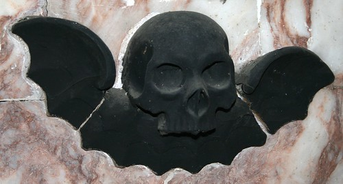 Bat and Skull on Tomb at St Mary, West Malling, Kent