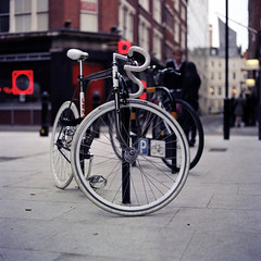 White lines (ted.kozak) Tags: city white 6x6 bicycle mediumformat square explore fixedgear frontpage kodakportra160vc tyres 120mm selfdeveloped c41 kozak bronicasqa zenzanon80mm tetenalkit tedkozak