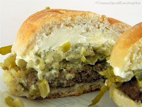 Blogger Burger Club: Green Chile Pepper and Cream Cheese Burgers