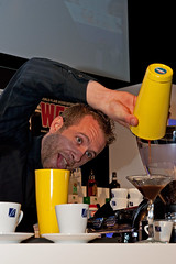 Ludo Loizon straining (Arne Kuilman) Tags: coffee rotterdam competition cocktail event espresso flair cappuchino koffie dcp scae cruiseterminalrotterdam buscaglione coffeeingoodspirits venuez coffeeflairchallenge venuez2010 dutchcoffeepromotion specialtycoffeeassociationofeurope