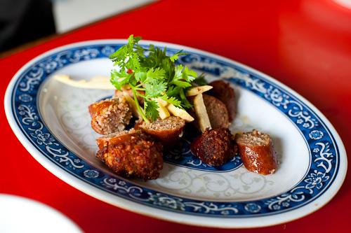 Sai ua, Luang Prabang-style sausage, at Khambang Lao Food Restaurant, Vientiane, Laos