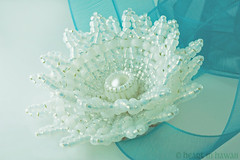 beaded lotus flower - gold-lined white (heartinhawaii) Tags: white flower whiteflower waterlily lotus handmade bracelet bridal corsage beaded headband lotusflower beadedflower