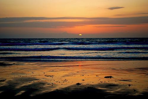 [フリー画像] 自然・風景, 海, ビーチ・砂浜, 夕日・夕焼け・日没, アメリカ合衆国, カリフォルニア州, 201004040700