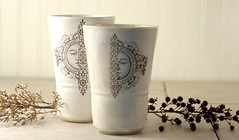 Tumblers (mudstuffing) Tags: sculpture woman cup motif girl face lady ceramic design eyes stencil hand handmade made bust mug pottery decal etsy tumbler