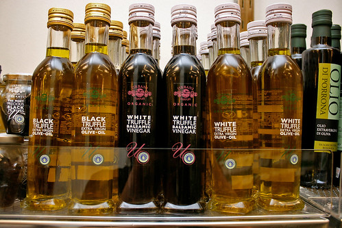 Black truffle olive oil and white truffle balsamic vinegar, all organic!
