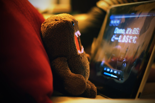 Domo-kun laments his non-capacitive arms, ineffectual on the iPad's touchscreen.