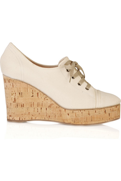 chloe lace-up canvas wedges net a porter