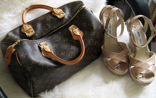 jimmy choo espadrilles+louis vuitton speedy bag+sheepskin