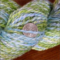 Blue Lake Lily Merino-Bamboo yarn, close up