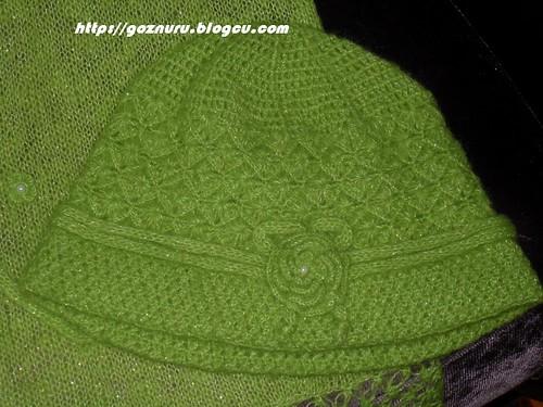 yeşil bere atkı modeli