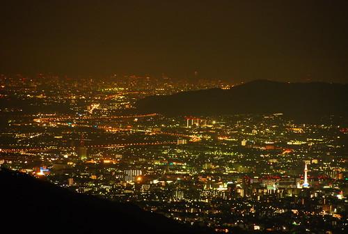 京都市内の夜景 (奥比叡ドライブウェイより)