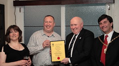 Karen Wood & David Norman of the Trafalgar, SW19 receive the CAMRA SW London Pub of the Year 2009 award from CAMRA's Martin Butler with Cllr Nick Draper, Mayor of Merton - Click for larger versions of the photo on Flickr.com