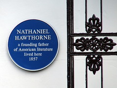 Photo of Nathaniel Hawthorne blue plaque