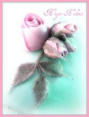 NİGAR HİKMET (nigarhikmet) Tags: flowers roses art beads gül beadwork weddingideas borduren zijde beadswork sakarya weddingaccessories akyazı weddingpillow nigarhikmet ödemişipeği ipekgül boncukyaprak