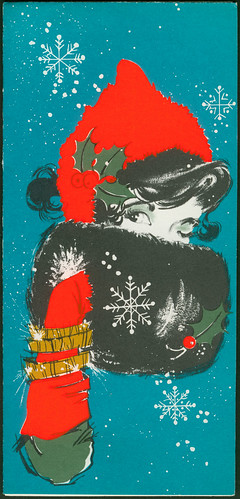 Christmas card - 1966 Art Guild of Williamsburg 5X-325 Good girl art