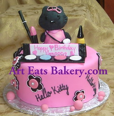 Black hello kitty sugar sculpture pink fondant birthday cake with sugar makup (arteatsbakery) Tags: birthday wedding sc cake best bakery custom greenville spartanburg fondant spartanburgscartistic