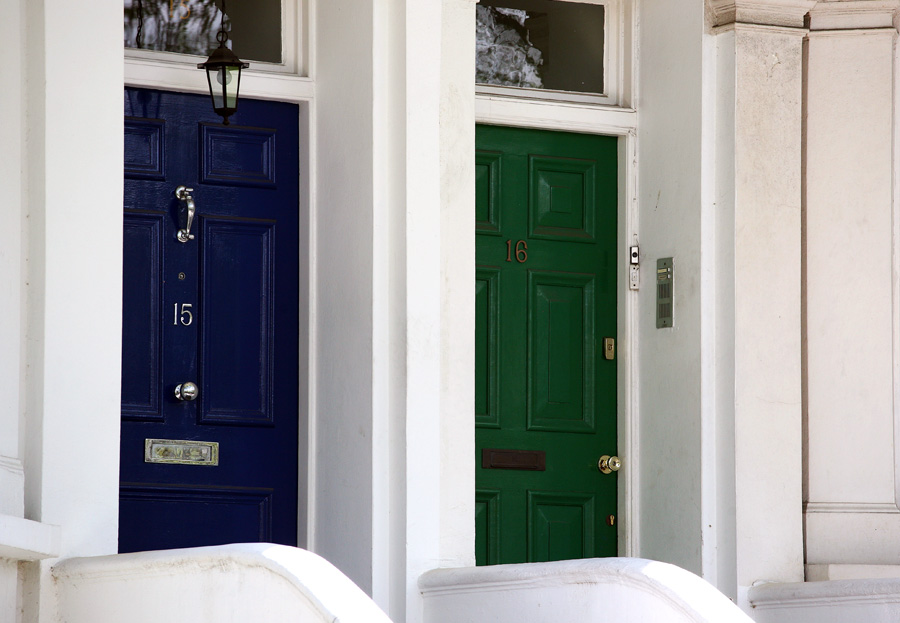 green and blue doors