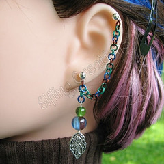Blue and green silver leaf cartilage chain earring - Guardian of the Trees