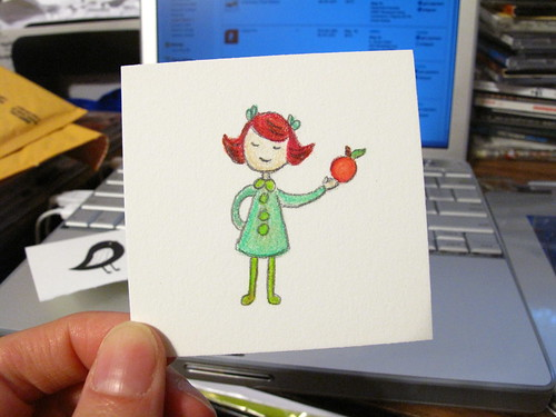 Apple Green drawing to put in my Etsy orders.