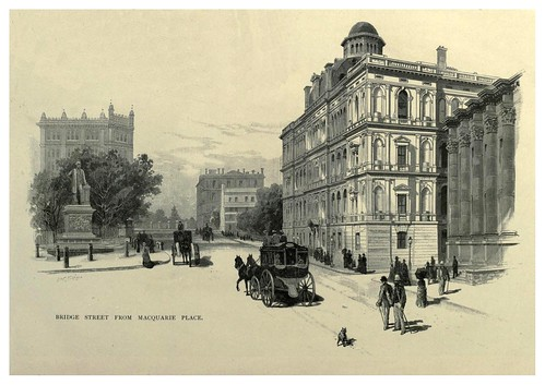 009-Bridge street desde la plaza Macquare-Australasia illustrated (1892)- Andrew Garran