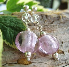 Pink Elegance - Pink Glass and Sterling Silver Earrings (la Nava) Tags: pink glass jewelry earrings sterlingsilver earstud earwire lanavaa lanavaajewelryearringslanavaalanavaathebeautiful