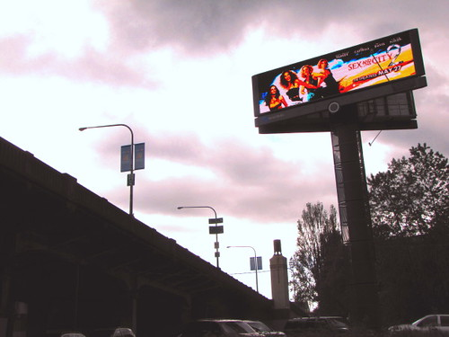 LED billboards put up by Squamish Nation at Burrard Bridge in Vancouver BC