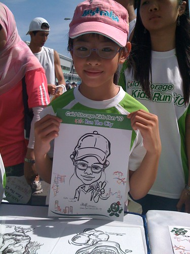 caricature live sketching for Cold Storage Kids Run 2010 - 12