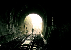 train tracks (tedmisc) Tags: railroad station train tracks taiwan railway tunnel cave shen  shing    sanyi