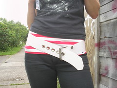 P1010016 (M3house.org) Tags: red white black belt vegan emily flogger cuff held hvb
