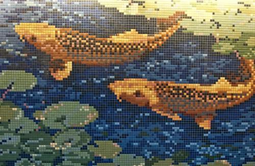 Flickr Mosaic Artists Koi Fish Pixel Art