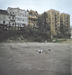 BH115 Backs of buildings, Bunker Hill, Los Angeles - Late 1950s.  This copyrighted photograph was taken by George Mann of the comedy dance team, Barto & Mann.jpg