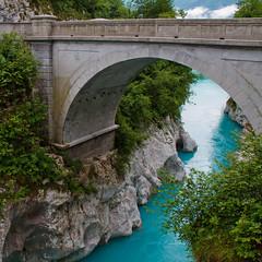 Emerald Beauty (Karmen Smolnikar) Tags: bridge water river turquoise canyon slovenia gorge slovenija emerald soca soča explored fotocompetitionbronze fotocompetitionsilver yourwonderland