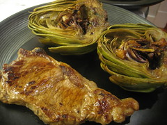 Braised artichokes and steak