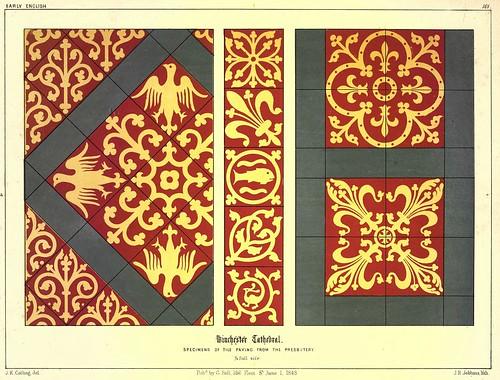016- Ejemplos de baldosas de la casa parroquial- Catedral de Winchester-Gothic ornaments.. 1848-50-)- Kellaway Colling