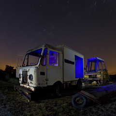 Old Navy Truck (EveryoneFreezes) Tags: blue tractor night truck square stars star rust long exposure flash navy trails tire airfield folkingham