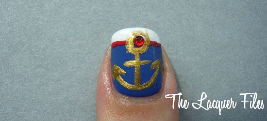 Anchor Mani Nautical Sailor Nail Art Design Rhinestones Kinetics Fashion Blue OPI Red China Glaze White Out