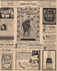 German sheet of ads (OnFoot4now (Didi)) Tags: camera old bicycle collage lady illustration vintage magazine germany advertising newspaper antique trumpet german weathered wives foreign vintageillustration