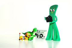 Hey you, we are trying get a photo taken here (m4calliope) Tags: dog green toy nikon story 16 slinky rex f5 gumby d700