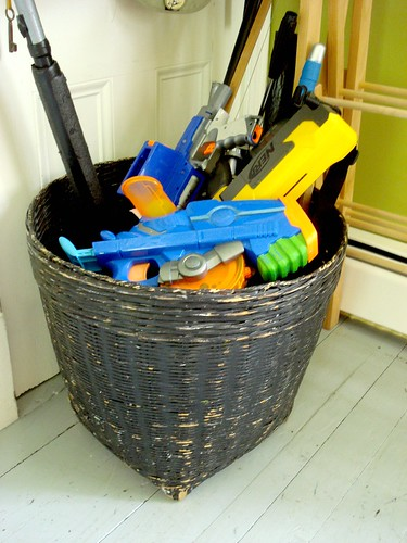 nerf, sword and light saber basket
