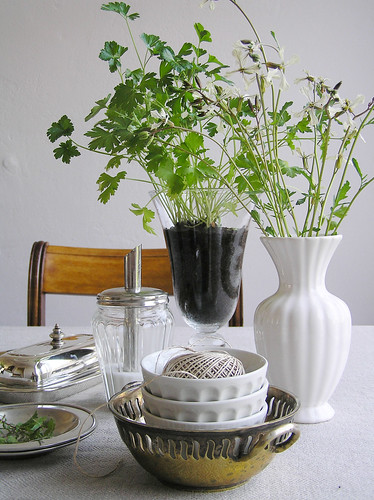 Ruccola flowers and parsley in a vase