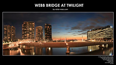 Webb Bridge at Twilight (Victor Marz) Tags: bridge sunset night marina river twilight yacht dusk australia melbourne victoria illuminated highrise yarra docklands anz waterscape yarrariver webbbridge yarrasedge australianewzealandbank wwwvictormarzcom anzheadquarter