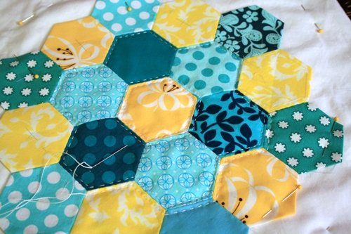 aqua and yellow hexagons