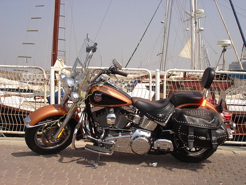 A Harley at the marina