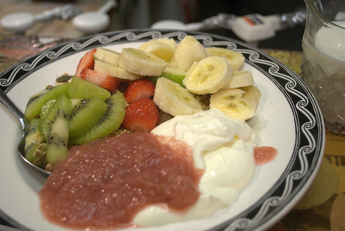 Fruit, rhubarb compote, yogurt & muesli at The Big Table