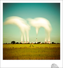 the giraffe and the pig take flight (dougchinnery.com) Tags: longexposure texture film ecology field station animals clouds rural square polaroid pig day power bright smoke yorkshire fineart surreal sunny gas faded pollution lee giraffe float seventies eco quirky chimneys sixties fingerprint ecological gases poladroid epiceditsselection bigstopper