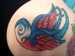 blue swallow (*** coleyB ***) Tags: blue red tattoo swallows birdtattoos tatttoos suntattoo swallowtattoos redandbluetattoos