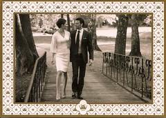 SE-17252 (mysonictruth) Tags: bridge blackandwhite walking photo couple sweden postcard postcrossing