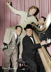Buster Keaton, James Cagney, Harpo Marx and George Burns. (SilverRainbow87) Tags: hollywood marx buster keaton colorization harpomarx cagney harpo busterkeaton jamescagney gerogeburns goldenhollywood