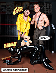 Comic 09 - Inspector Fox (WF portraits) Tags: bear blue portrait dog black male yellow club fetish naked beard model uniform comic teddy muscle chest location rubber story fox latex professor mad cuffs
